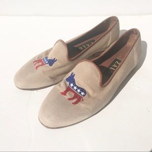 ZALO Democrat Donkey Shoe 8 1/2 loafer needlepoint